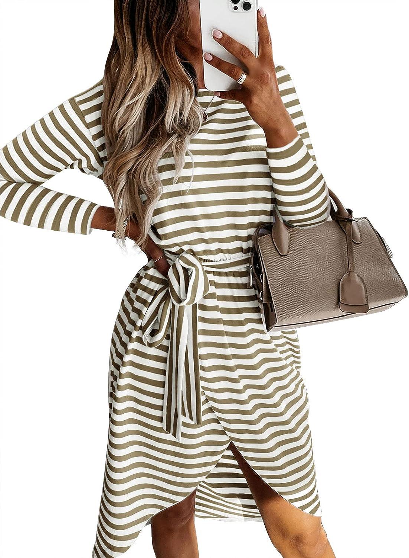 MEROKEETY Women's Striped Long Sleeve T Shirt Dress Casual Tie Waist 2021 Fall Dress