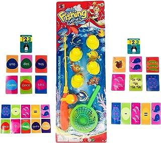 Lote de Caña de Pescar + 6 Patitos + Cesta + Juego de Cartas para Regalo de Niños y Niñas de 3 a 6 años de Edad (2 a 6)