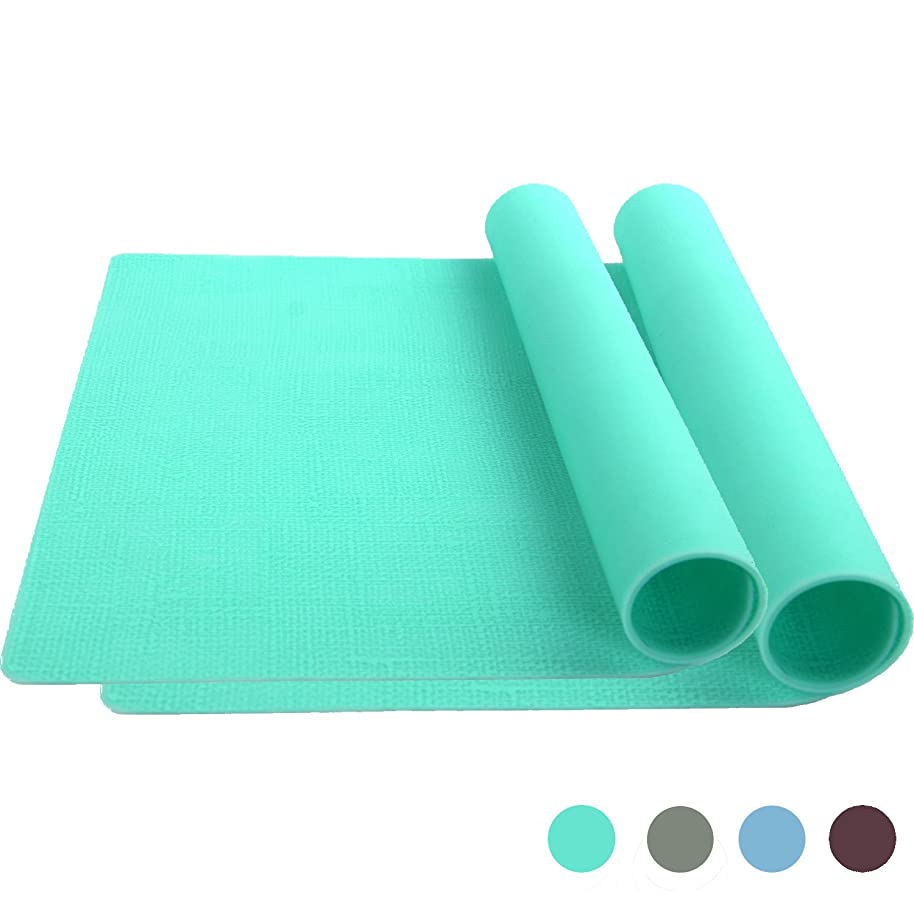 Bakingfun Silicone Placemat for Dining Table Reusable Kids Place Mat Heat Resistant Silicone Baking Mat (Set of 2) - Green