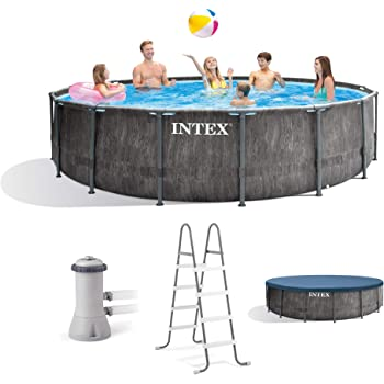 Intex 26741EH 15ft x 48in Greywood Premium Prism Steel Frame Outdoor Above Ground Swimming Pool Set with Cover, Ladder, & Pump