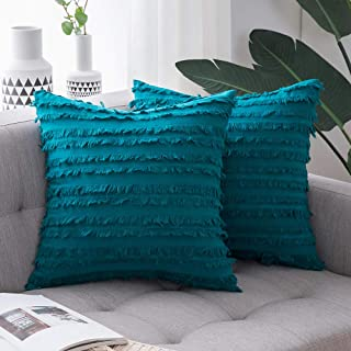 Best MIULEE Set of 2 Decorative Boho Throw Pillow Covers Cotton Linen Striped Jacquard Pattern Cushion Covers for Sofa Couch Living Room Bedroom 18x18 Inch Teal Review