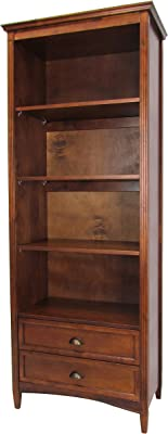 Benjara Transitional Bookcase with 3 Removable Shelves and Chamfered Legs, Brown