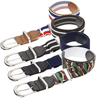 Bundle Monster 4pc Mix Design Adjustable Elastic Band Boys Fashion Stretch Belts