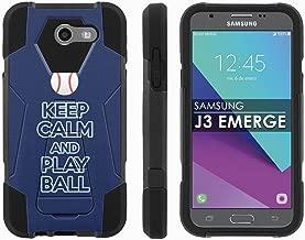 Samsung Galaxy J3 Emerge [2017] Mil-Spec [Mobiflare] [Black/Black] Dual Layer Armor Case [Kickstand] [Screen Protector] - [Play Ball - Tampa Bay] for Galaxy [2017] [J3 Emerge] [5