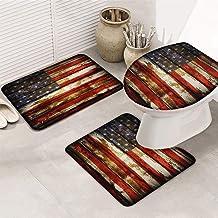 LOT BASIC Bath Rug Mat Set 3 Piece USA Flag Non-Slip Bathroom Mat Contour Rug Toilet Seat Cover Soft Memory Foam Patriotic...