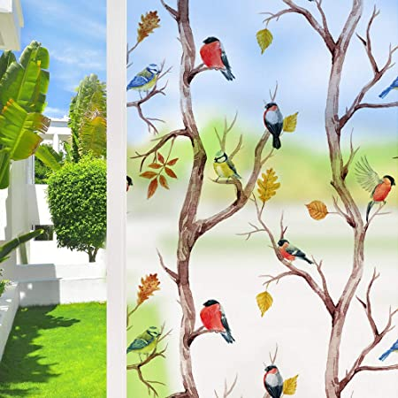 Privacy Window Film Frosted Bird Window Sticker Stained Glass Window Clings for Living Room Bathroom 35.5''x78.7''