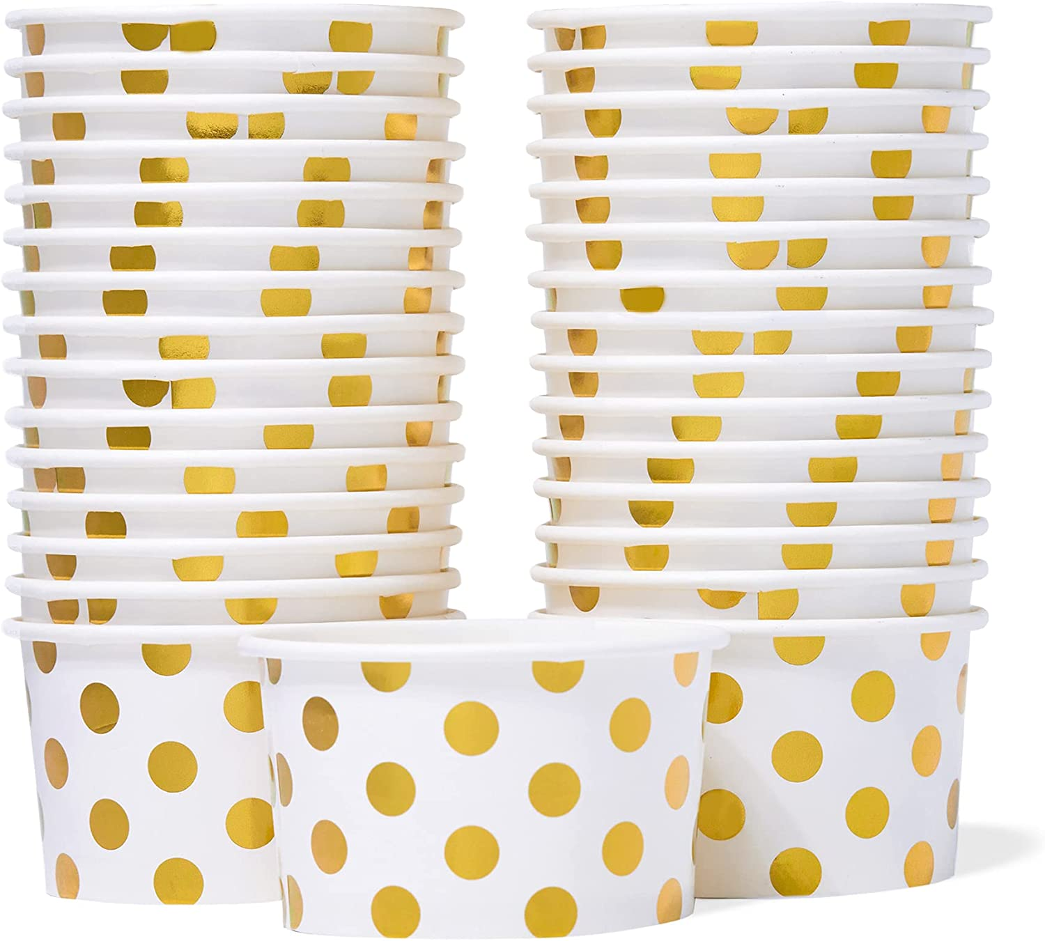 Paper Ice Cream Cups - 30-Count 5.5-Oz Disposable Dessert Bowls for Hot or Cold Food, 5.5-Ounce Party Supplies Treat Cups for Sundae, Frozen Yogurt, Soup, Gold Foil Polka Dots