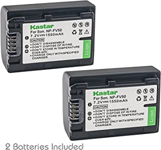 Kastar NP-FV50 Battery 2 Pack for Sony NP-FV30 NP-FV40 NP-FV50 & Sony Handycam HDR-CX380 430V 900 580V 760V HDR-PJ540 650V HDR-PV710V 790V 810 HDR-TD30V FDR-AX100 DCR-SR DCR-SX HDR-CX HDR-XR Series