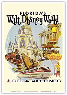 Florida's Walt Disney World - First Year of Operation - Delta Air Lines - Vintage Airline Travel Poster by Daniel C. Sweeney c.1971 - Master Art Print - 13in x 19in
