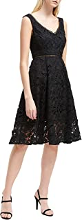 French Connection Blossom Lace Fit-&-Flare Dress (Black, 0)
