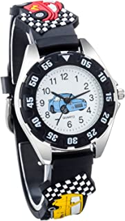 Vanyar Kids Car Time Teacher Quartz Wrist Watch Rubble Band Black