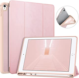 MoKo Case Fit iPad Pro 9.7 with Apple Pencil Holder - Slim Lightweight Smart Shell Stand Cover Case with Auto Wake/Sleep Fit Apple iPad Pro 9.7 Inch 2016 Release (A1673/A1674/A1675) - Rose Gold