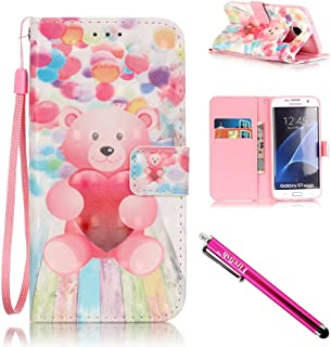 Galaxy S7 edge Case, Firefish [Kickstand] Design [Card/Cash Slots] Premium PU Leather Wallet Flip Cover with Wrist Strap for Samsung Galaxy S7 edge-Bear