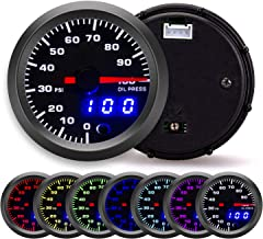 Sponsored Ad - 100 PSI 7 Color Oil Pressure Gauge Kit - Includes Electronic Sensor - Black Dial with Pointer and LED Digit...