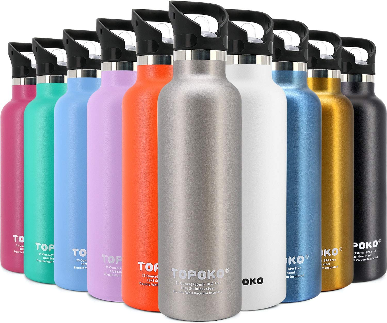 TOPOKO 25 OZ Double Sale SALE% OFF Wall Stainless Water Straw Steel Bottle Lid Soldering