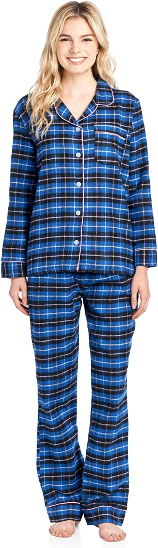 Ashford  Brooks Women's Flannel Plaid Pajamas Long Sleeve Butto