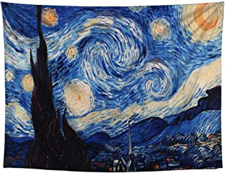YAMUDA Starry Night Tapestry, Hippie Galaxy Tapestry, psychedelics Van Gogh Impression Art Tapestry, Apartment Wall Hanging Tapestry Collection, Bedroom, Living Room, Bedroom Tapestry