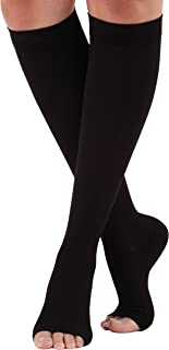 Mojo Compression Socks Knee Length with Wide Calf | Open Toe | Black X-Large