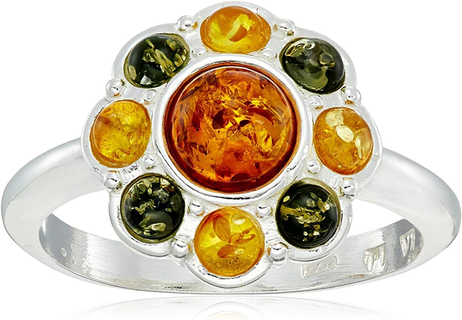 Multicolor Sterling Silver Flower Ring Cheap Max 77% OFF mail order shopping