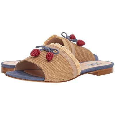 L.K. Bennett Orla (Natural Raffia/Powder Blue Suede) Women