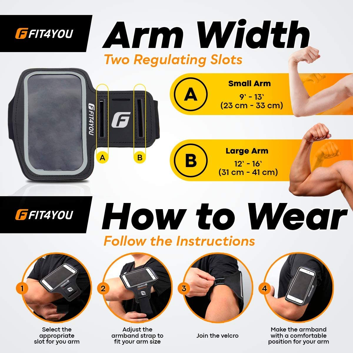 Running Cell Phone Holder for iPhone 12, 12 Pro, 11, X, Xs, 8, 7, 6, 6S, Samsung Galaxy S20, S10, S9, S8, S7, S6, Edge, Plus & LG, Huawei, Google, Sony - Water Resistant Armband Case for Running