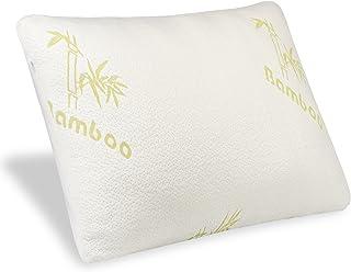 Mastery Mart Almohada de espuma viscoelástica triturada, suave, extraíble y lavable, funda de almohada de bambú ajustable, cojín ergonómico para el dolor de cuello 50 x 75 cm