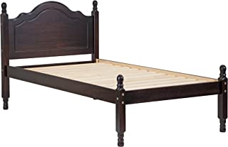 100% Solid Wood Reston Panel Headboard Platform Bed 1436 by Palace Imports, Twin Size, Java Color, 12 Slats Included. Optional Trundle, Drawers, Rail Guard Sold Separately.