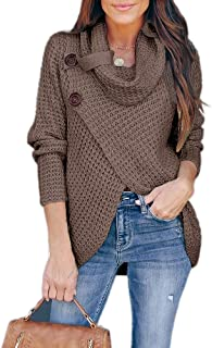 Womens Sweaters Casual Cowl Neck Chunky Cable Knit Wrap Pullover Sweater
