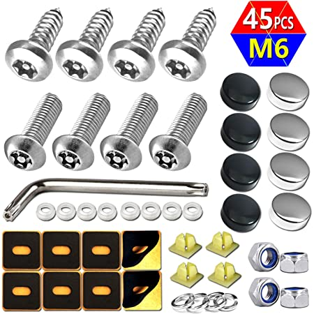 Foam Pads Anti Theft License Plate Screws 4 PC Button Head Torx M6 3//4 Stainless Steel Tamper Resistant Self Tapping Security License Plate Bolt License Plate Frame Fastener and Wrench