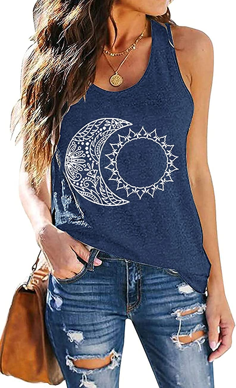 Sun Moon Tank Tops for Women Vintage Graphic Tees Casual Summer Sleeveless Racerback Beach Cami Shirt