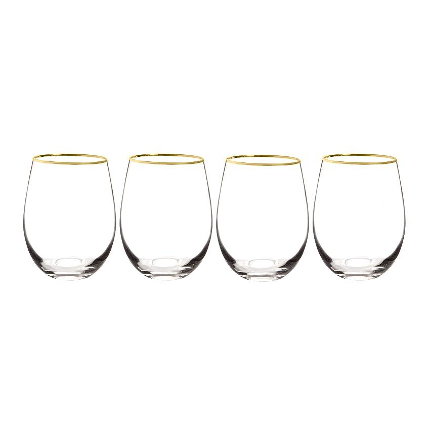 限りなくフォームアッティカスキャシーの概念1120?g-4パーソナライズゴールドリムStemlessワイングラス4のセット、クリア