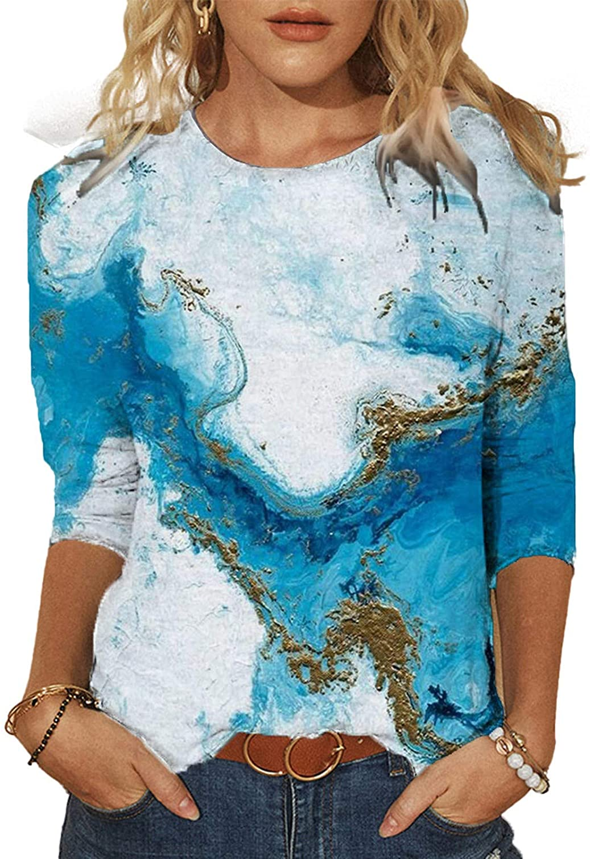 AODONG Womens 3/4 Sleeve Shirts,Loose Casual Summer Tops Beautiful Print Crewneck Tshirts Comfy Soft Blouses