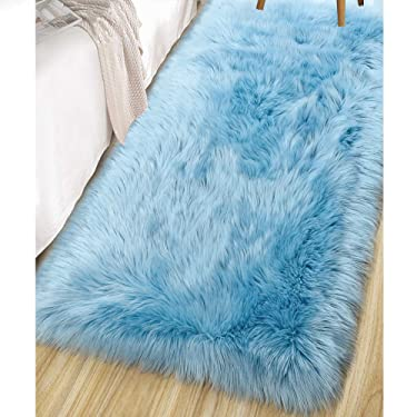 LOCHAS Ultra Soft Fluffy Rugs Faux Fur Sheepskin Area Rug for Bedroom Bedside Living Room Carpet Nursery Washable Floor Mat, 2x4 Feet Spa Blue