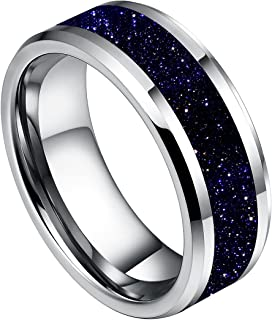 8mm Mens White Tungsten Carbide Ring Purple Goldstone Inlay Sparkling Wedding Band High Polished