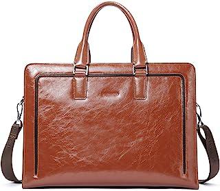 BOSTANTEN Leder Aktentaschen Herren/Damen 15.6 Zoll Laptoptaschen Businesstasche Schultertasche Henkeltasche Tote Tasche Braun