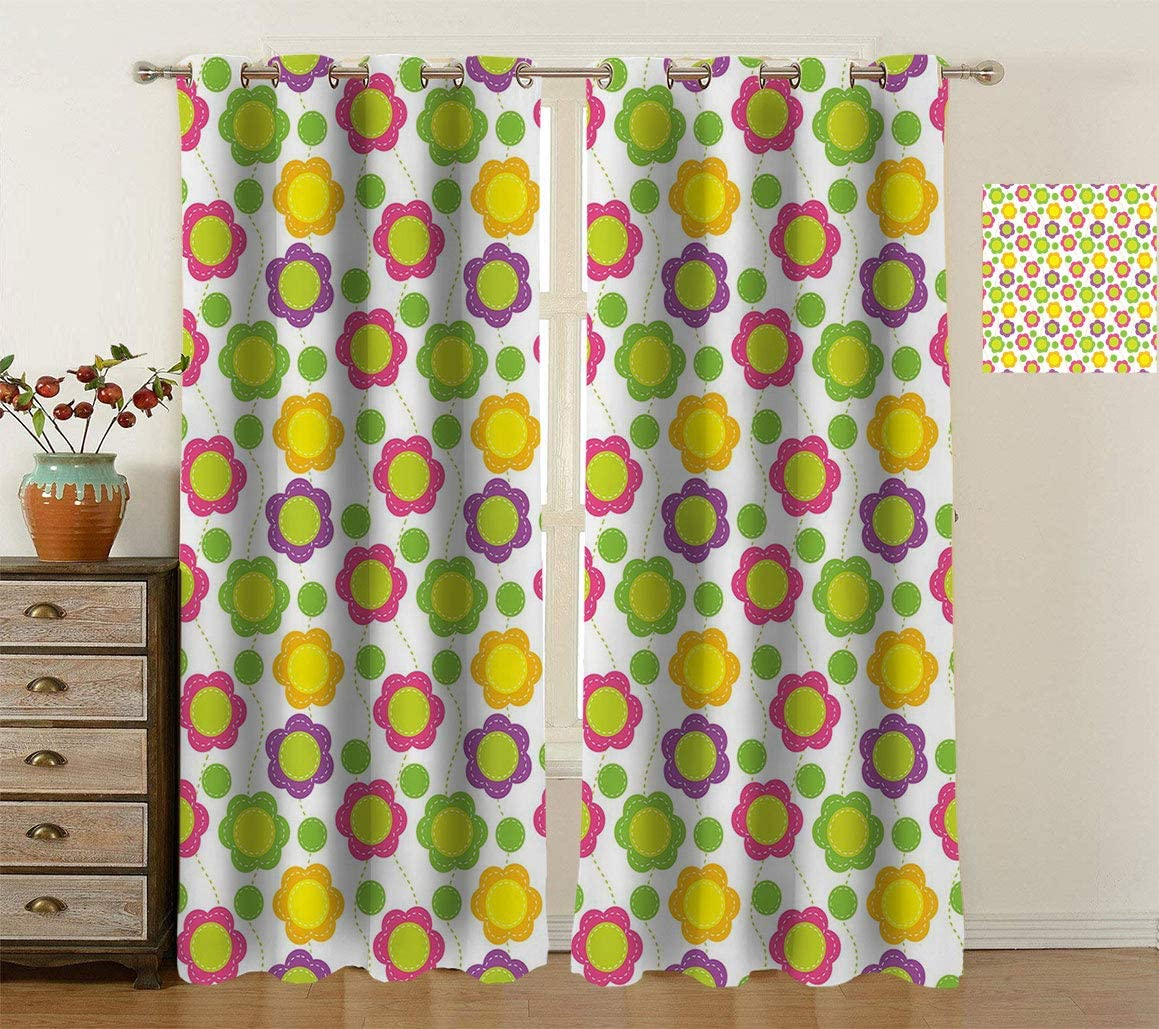 Green Flower Blackout Curtains Patchwork Geo Pattern Seasonal Wrap Bombing new work Introduction with Style