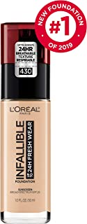 L'Oréal Paris Makeup Infallible up to 24HR Fresh Wear Liquid Longwear Foundation, Lightweight, Breathable, Natural Matte Finish, Medium-Full Coverage, Sweat & Transfer Resistant, Ivory Buff, 1 fl. oz.