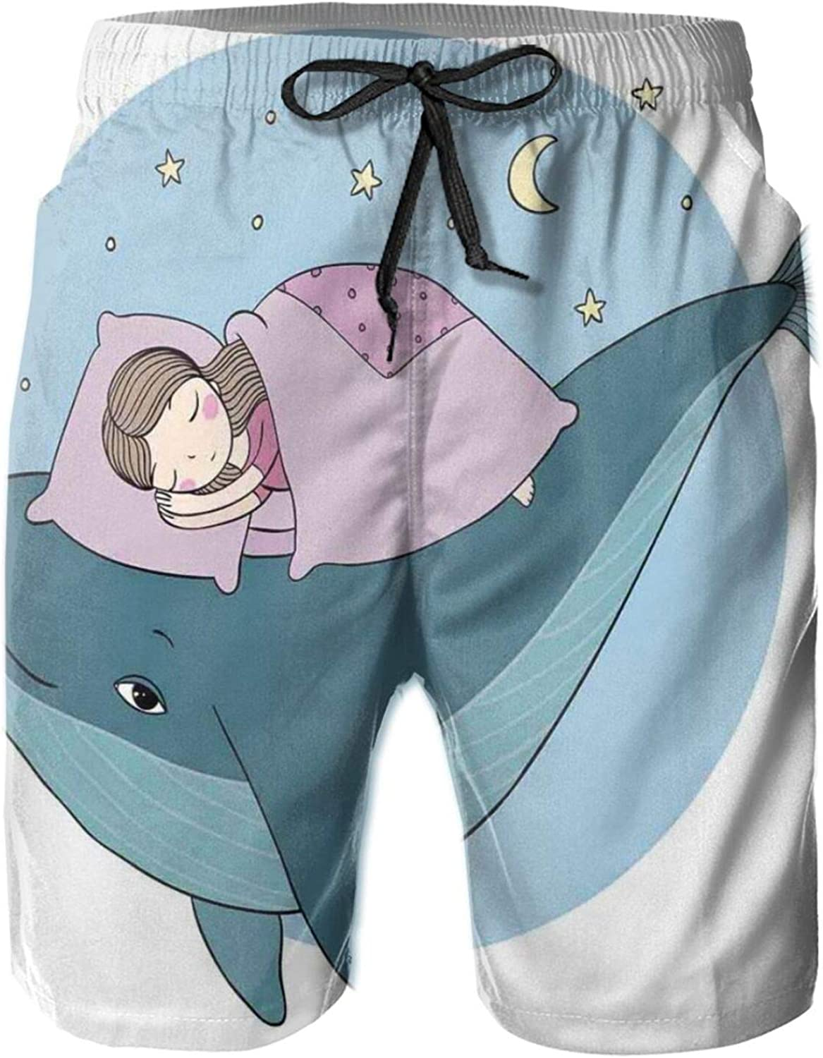 Hand Drawn Style Little Girl is Sleeping On A Whale Cozy Bed in The Night Sea Mens Swim Shorts Casual Workout Short Pants Drawstring Beach Shorts,XXL