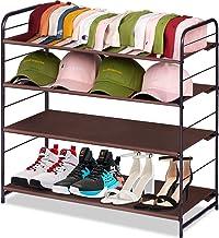 رف أحذية قائم حر قابل للتكديس من MISSLO لتنظيم الخزائن ومنظم تخزين 4 طبقات قابل للتوسيع رف مدخل قابل للتعديل، بني