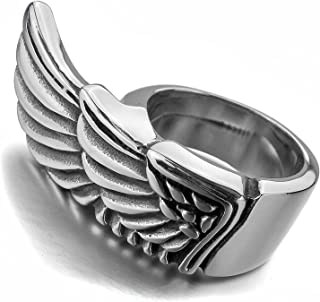 Mens Stainless Steel Ring Angel Wing Silver with a Velvet Bag