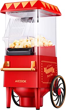 Popcorn Maker Retro, AICOOK 1200W Hot Air Home Popcorn Popper with Measuring Cup, ETL Certified, BPA-Free, Vintage Style Popc