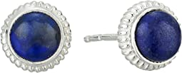 Coin Edge Studs with Lapis