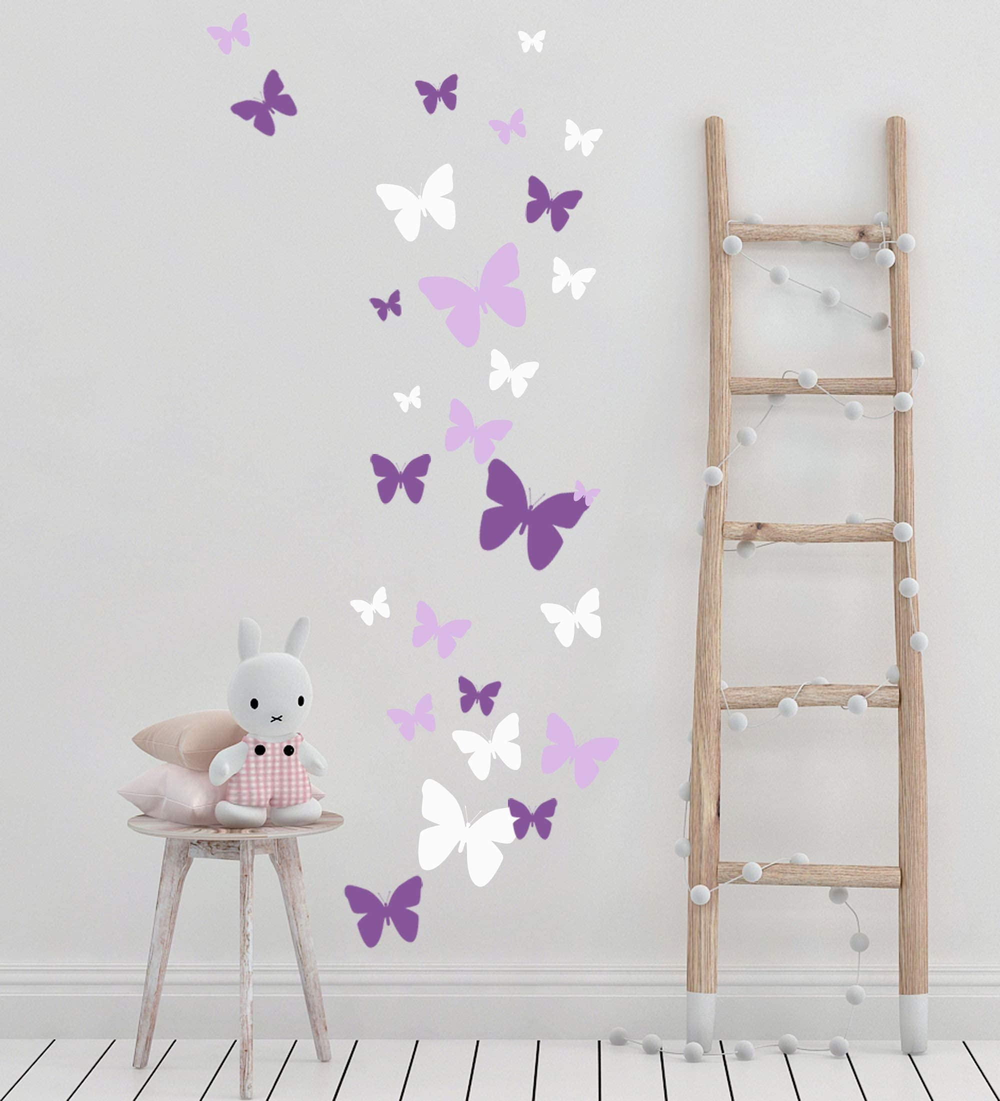 Butterfly Wall Decals Beautiful Girls Stickers Art Vinyl For Bedroom Peel And Stick Kids Room Decor Nursery Toddler Teen Decorations Playroom Birthday Gift Lilic Lavender White