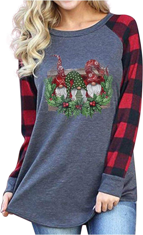 Tops for Women Long Sleeve,Eashery Merry Christmas Santa Graphic Cute Shirt Plaid Splicing Shirts Raglan Tees Baseball Tops