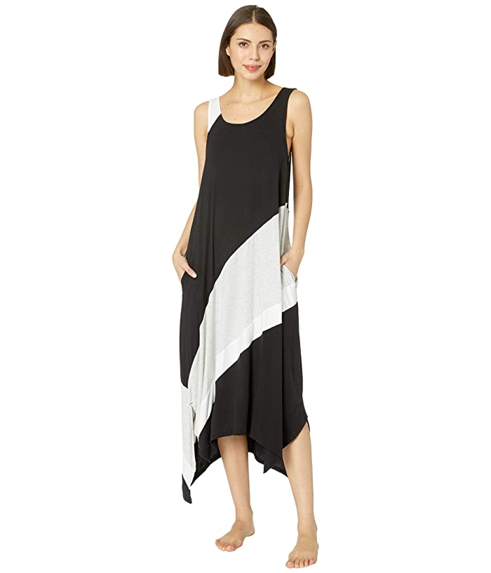 Donna Karan Color Blocked Nightgown (Black) Women