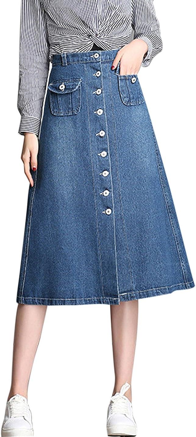 Lentta Women's Casual Slim Under Knee Length Button Down A Line Denim Jean Skirt