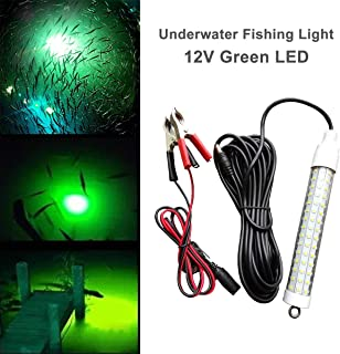 LinkStyle 12V 120 LED 1000 Lumens Lure Bait Finder 10.5W Night Fishing Finder Lamp Light Crappie Shad Boat LED Submersible Deep Drop Underwater Light with Battery Clip and Power Plug 6M Power Cord