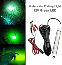12V LED 1000 Lumens Lure Bait Finder Night Fishing Finder Crappie Shad Boat LED Submersible Underwater Light with Battery Clip and Power Plug 6M Power Cord