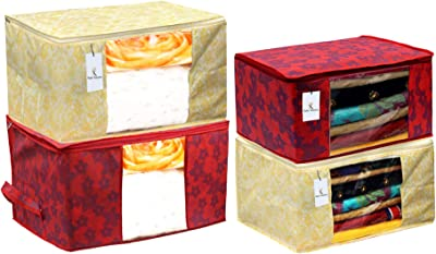 Kuber Industries Metalic Printed 2 Piece Non Woven Saree Cover and 2 Pieces Underbed Storage Bag, Storage Organiser, Blanket Cover, Gold & Red -CTKTC42390