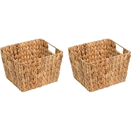 11 5 Hyacinth Storage Basket With Handles Rectangular By Trademark Innovations Set Of 2 Home Improvement